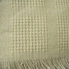 Vintage fine woven table cloth baby blanket ivory fringe trim delicate 48x48 sq