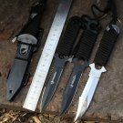 American Paratrooper Leg Wrappings Survival Knife Black White 440C Fixed Blade Serrated Knives