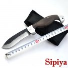 Forged Titanium processing folding knife 440C Stainless Steel pattern Camping knife & wood
