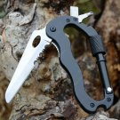 EDC 5 In 1 Outdoor Survival Aluminum Multifunctional Knife Screwdrivers Carabiner stainless bla