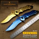 Hot sell Browning B49 Folding KnivesTitanium color Blade Full Steel Handle ZT Survival outdoor