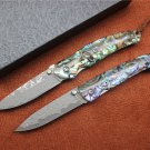 , Damascus steel folding knife,handle material color shells,outdoor pocket knife hand EDC tools