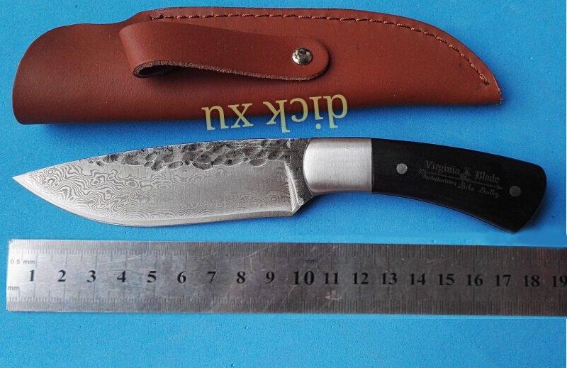 58HRC Straight Handmade forged Damascus Steel hunting knife fixed blade knife ebony handle free
