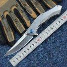 D2 Combat Pocket Folding Knife Steel Handle Blue Moon Bearing Tactical Survival Camping Knives