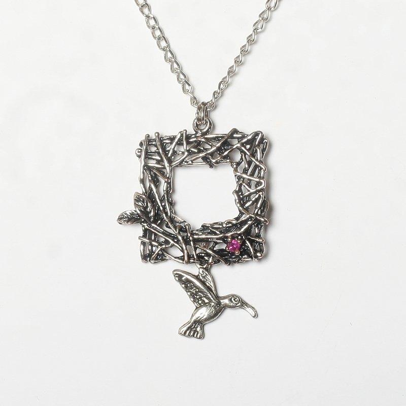 Necklace ruby bird