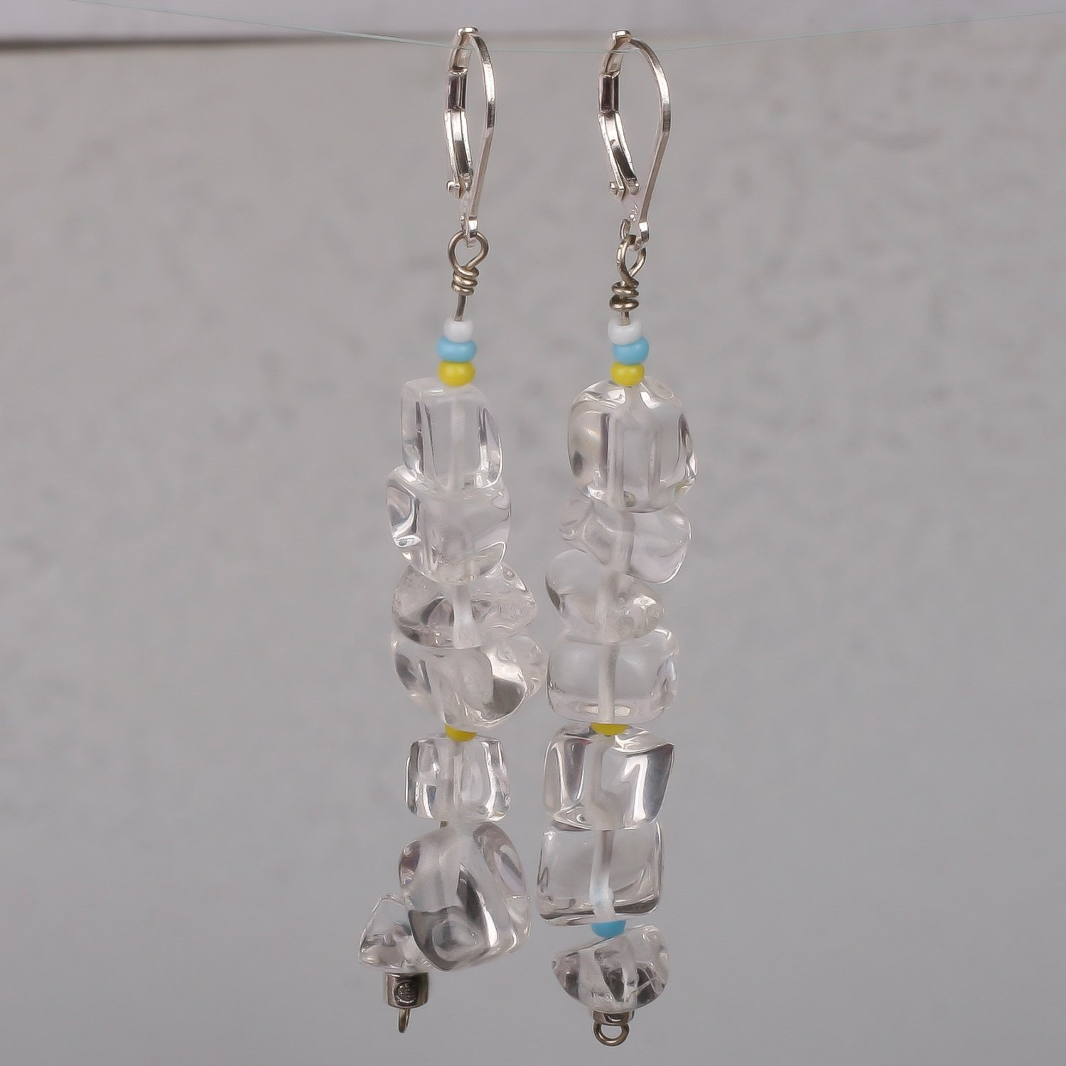 Sterling silver earrings rock crystal