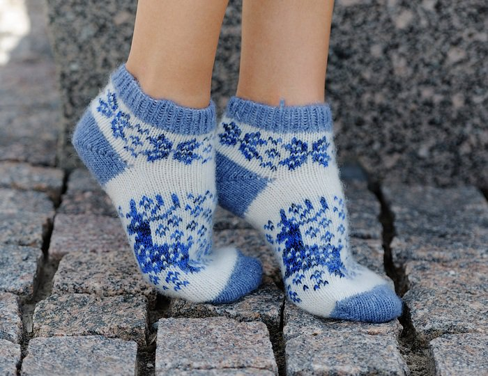 Women M Wool Warm Ankle Socks Reindeer Thick Blue