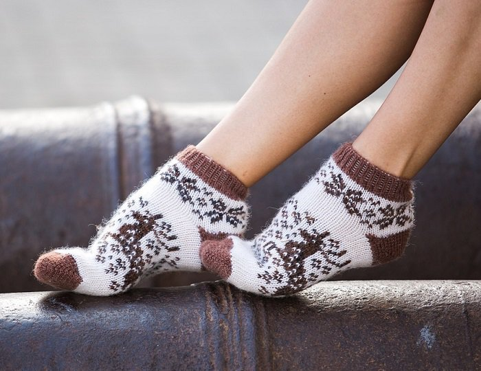 Women M Wool Warm Ankle Socks Reindeer Thick Brown