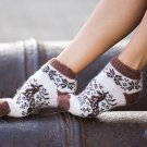 Women S Wool Warm Ankle Socks Reindeer Thick Brown