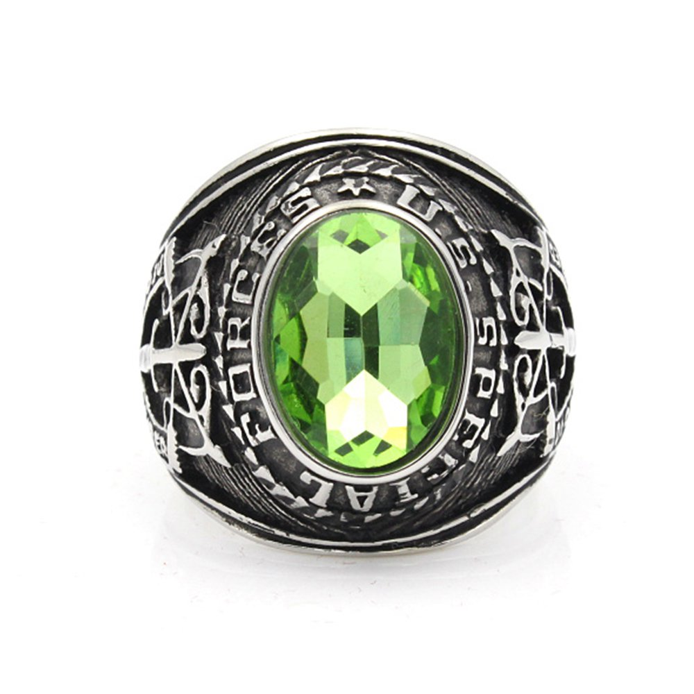 United Stated US Army Special Force Military Color Stone 316L Stainless Steel Solid Rings