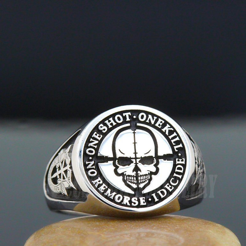 Sniper Rifle Gun One Shot One Kill Army Special Force Military Skull Silver Ring
