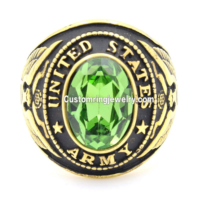 Men`s United States US Army Military 316L Stainless Steel Gold Ring