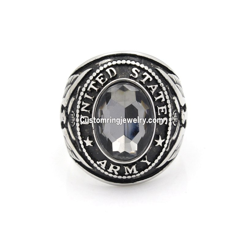 Men`s United States US Army Military 316L Stainless Steel Silver Ring