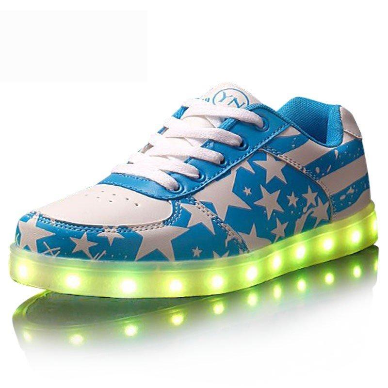 LED Shoes U.S.A Fashion Flag Printed Blue Sneakers Usb Charging