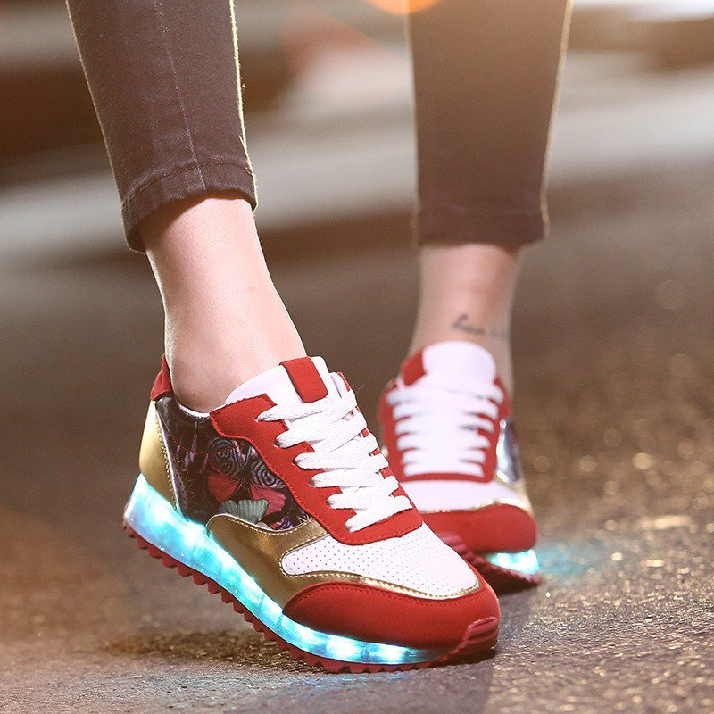 LED Light Up Hip-Hop Men Shoes Red Usb Charging