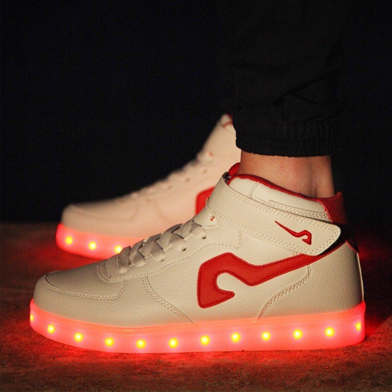 7 Colors Usb Charging LED Shoes Flashing Sneakers Black White