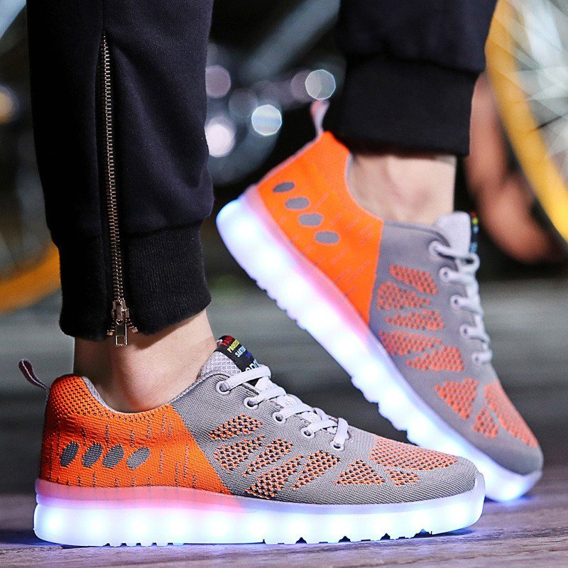 Light Up Shoes For Adults Usb Charging Sneakers Orange Gray