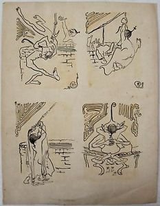 Elden Ebbe- Four Original erotic Ink illustrations Hand Signed -1901-Very rare!