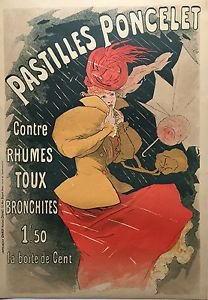 """Jules Cheret """"Pastilles Poncelet"""" Original lithograph poster (1954 reproduction)"""