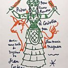 JEAN COCTEAU ' Untitled'- Hand Signed in the plate  Lithograph 1963