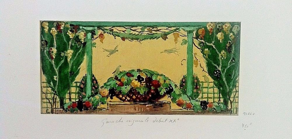 Jaulmes Gustave Louis -Original signed Gouache/Watercolor Drawing in pochoir