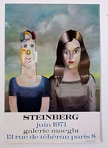 Steinberg Saul -'Couple 1971' Expo Galerie Maeght 1971 Poster exhibition  RARE