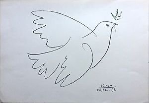 """Picasso Pablo  """"la colombe de la paix"""" 1961 lithograph Hand Signed in  Plate"""