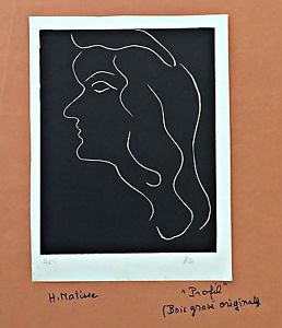Matisse Henri Variation on a profile II Original engraving initials Hand signed