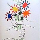 """Picasso Pablo  """"Le Bouquet De Fleurs"""" 1958 Lithograph Hand Signed in the Plate"""