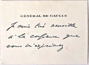 Charles De Gaulle  Handwritten Greeting card features an original envelope