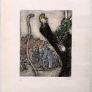 Chagall Marc  'Moses' Engraving with Watercolors Hand signed and numbered 7/100