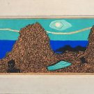 Fumio Kitaoka Woodblock Hand signed + Épreuve d'artiste 1960 Woodcut 4 colores