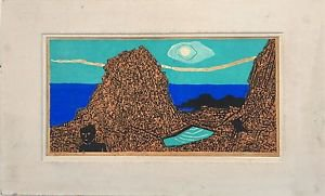 Fumio Kitaoka Woodblock Hand signed + �preuve d'artiste 1960 Woodcut 4 colores