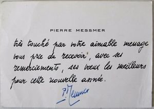 Pierre Messmer Hand signed & Handwritten Greeting card