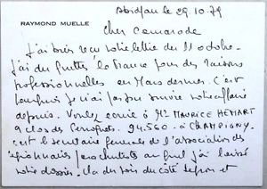 Raymond Muelle-Personal handwritten letter signed 1979 VERY RARE