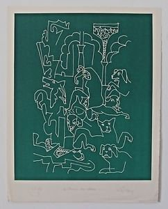 "LAPICQUE  Charles �""La femme aux Chiens"" Hand signed and numbered 48/50"