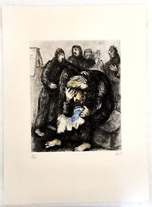 Marc Chagall 'Jacob Pleuren Joseph' Engraving Hand Signed and Numbered 58/100