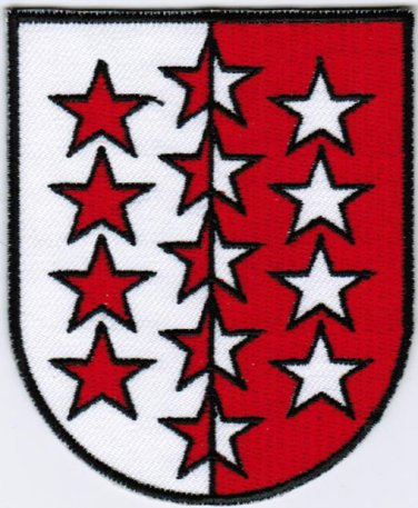 Canton of Valais Coat of Arms Switzerland Swiss Confederation Iron On Embroidered Patch 2.5x3