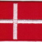 Flag Denmark Nation Emblem Badge Iron On Embroidered Patch 3x2