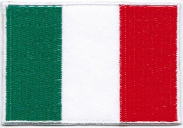 Flag Italy Nation Emblem Badge Iron On Embroidered Patch 3x2