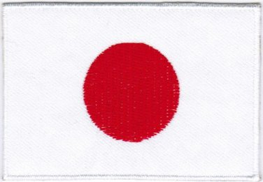 Flag Japan Nation Emblem Badge Iron On Embroidered Patch 3x2