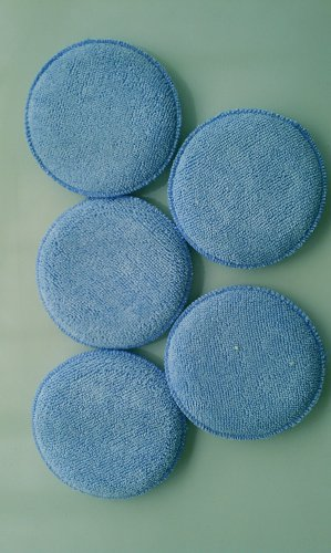 "Dafna 5"" Round Blue Microfiber Applicator Pad - 10 pack -  free shipping"