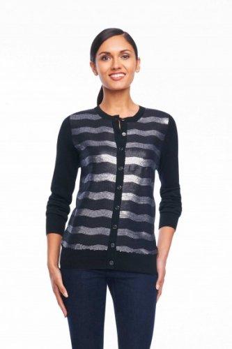 Foxcroft Sequin Stripe Cardigan - Medium