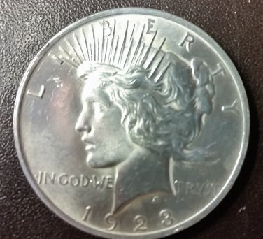 1923 PEACE SILVER DOLLAR 90% SILVER Good Condition
