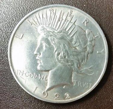 1922 PEACE SILVER DOLLAR 90% SILVER Good Condition