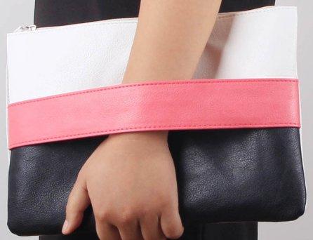 Women's Clutch Purse - Pink - White - Black