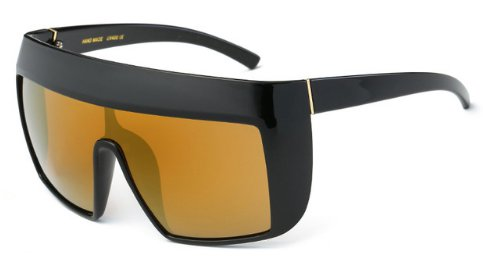 Women's Oversized Vintage Goggle Sunglasses - Gold - UV400