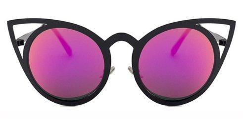 Women's Round Lens Cat Eye Fashion Sunglasses - Purple - UV400
