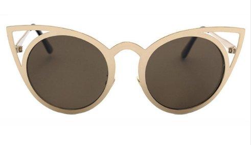 Women's Round Lens Cat Eye Fashion Sunglasses - Gold - UV400