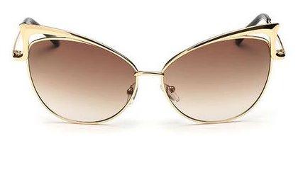 Women's Mirror Cat Eye Vintage Fashion Style Sunglasses - Gold